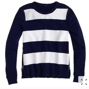 J. Crew Striped Sweatshirt With Side Zipper Detail
